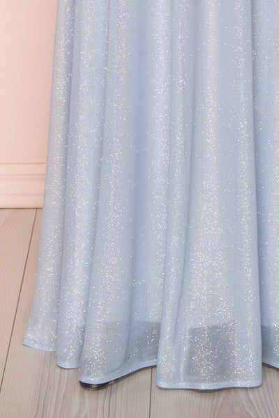 Helma Dusty Blue Maxi Dress | Robe | Boutique 1861 front close-up