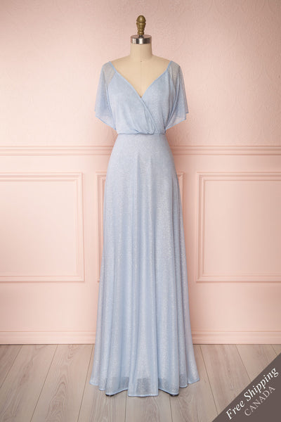 Helma Dusty Blue Maxi Dress | Robe | Boutique 1861 front view