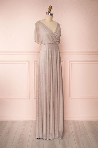 Helma Taupe Maxi Dress | Robe Maxi Taupe | Boutique 1861 side view