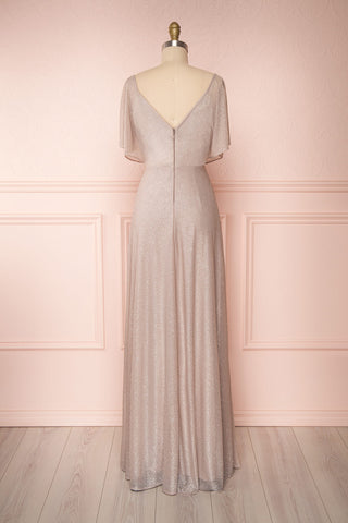 Helma Taupe Maxi Dress | Robe Maxi Taupe | Boutique 1861 back view