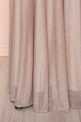 Helma Taupe Maxi Dress | Robe Maxi Taupe | Boutique 1861 bottom close-up
