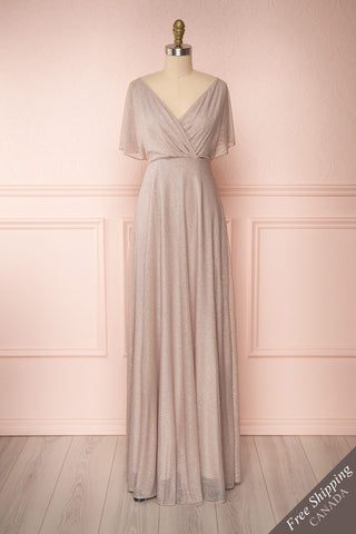 Helma Taupe Maxi Dress | Robe Maxi Taupe | Boutique 1861 front view
