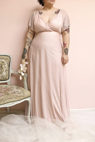 Helma Blush Pink Sparkling Maxi Dress | Boutique 1861 on model