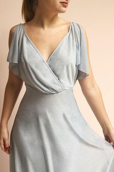 Helma Dusty Blue Maxi Dress | Robe | Boutique 1861 model close up