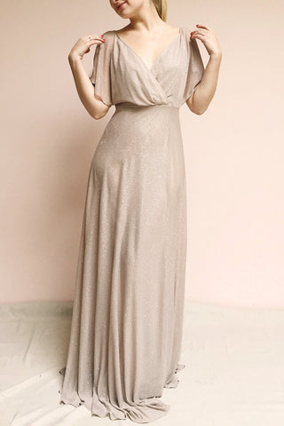 Helma Taupe Maxi Dress | Robe Maxi Taupe | Boutique 1861 on model