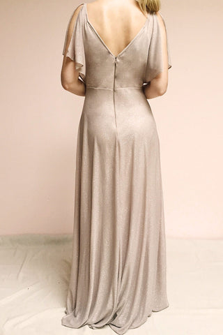 Helma Taupe Maxi Dress | Robe Maxi Taupe | Boutique 1861 model back