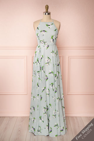 Hendrika Grey-Blue Floral Halter Maxi Dress front view FS | Boutique 1861