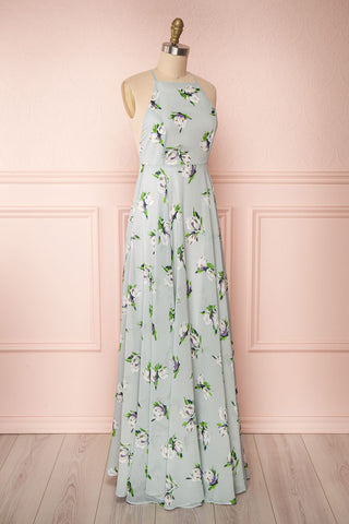 Hendrika Grey-Blue Floral Halter Maxi Dress side view | Boutique 1861