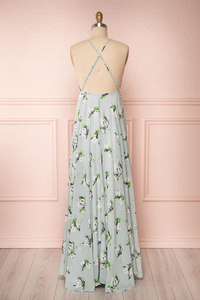 Hendrika Grey-Blue Floral Halter Maxi Dress back view | Boutique 1861