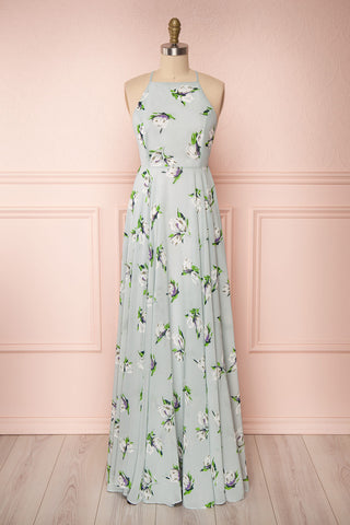 Hendrika Grey-Blue Floral Halter Maxi Dress | Boutique 1861