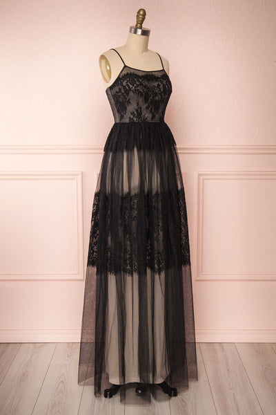 Henwen Black & Beige Tulle Maxi Dress | Boutique 1861 side view