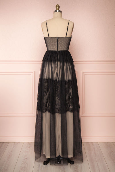 Henwen Black & Beige Tulle Maxi Dress | Boutique 1861 back view