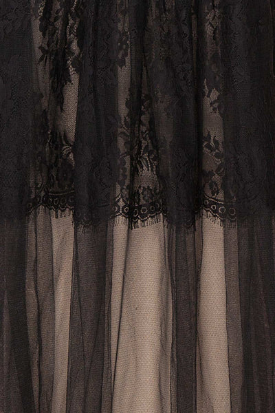Henwen Black & Beige Tulle Maxi Dress | Boutique 1861 fabric
