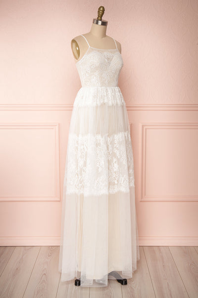 Henwen Ivory White Tulle Maxi Dress | Boudoir 1861 side view