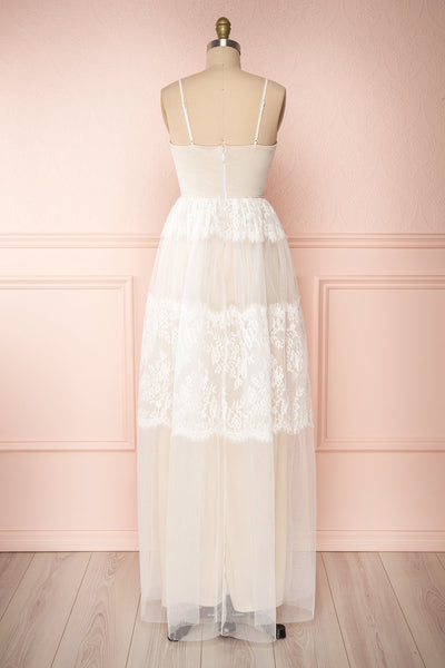 Henwen Ivory White Tulle Maxi Dress | Boudoir 1861 back view