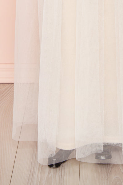 Henwen Ivory White Tulle Maxi Dress | Boudoir 1861 bottom close-up