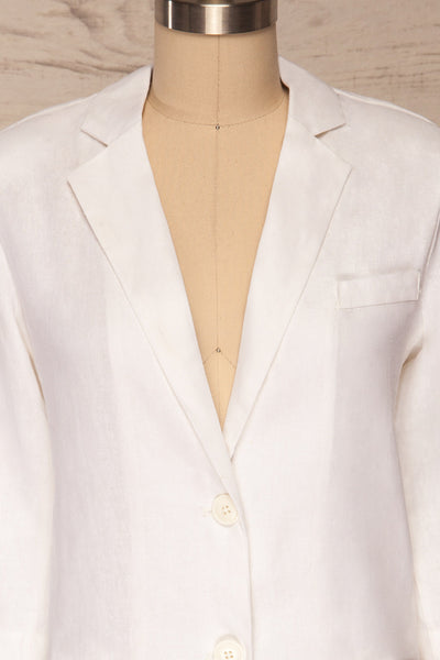 Herisau White 3/4 Sleeve Blazer | La petite garçonne front close up