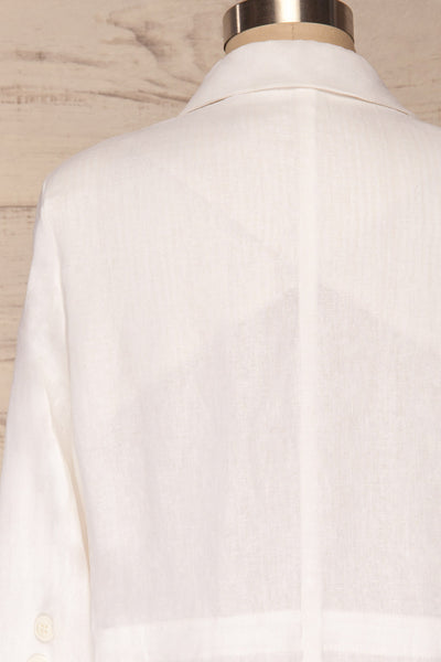 Herisau White 3/4 Sleeve Blazer | La petite garçonne back close up