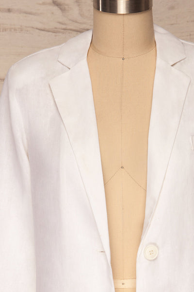 Herisau White 3/4 Sleeve Blazer | La petite garçonne front close up open