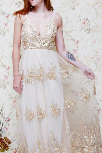 Hermione Golden Embroidered Sequins Maxi Gown | Boutique 1861