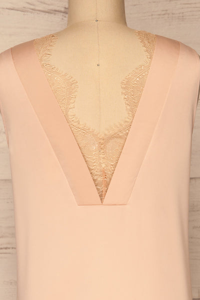 Herstal Blush Pink Blouse w/ Back V-Neck | La petite garçonne back close-up