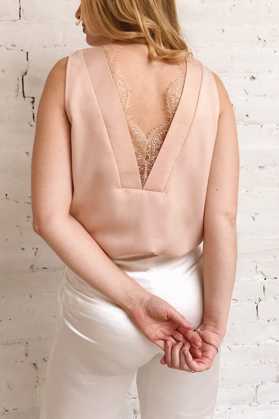 Herstal Blush Pink Blouse w/ V Back | La petite garçonne on model