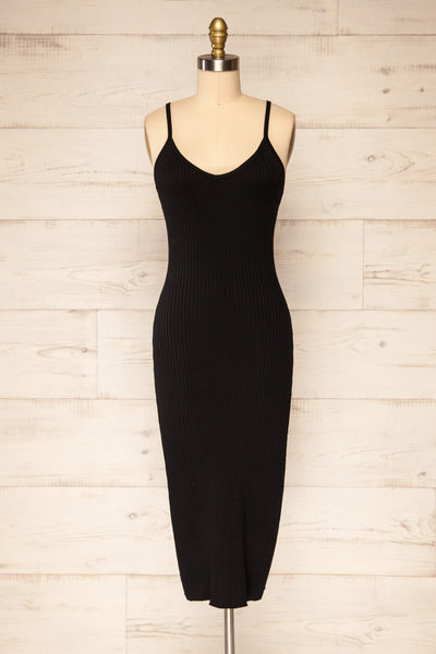 Hesses Black Ribbed Midi Dress | La petite garçonne front view