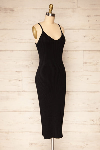 Hesses Black Ribbed Midi Dress | La petite garçonne side view