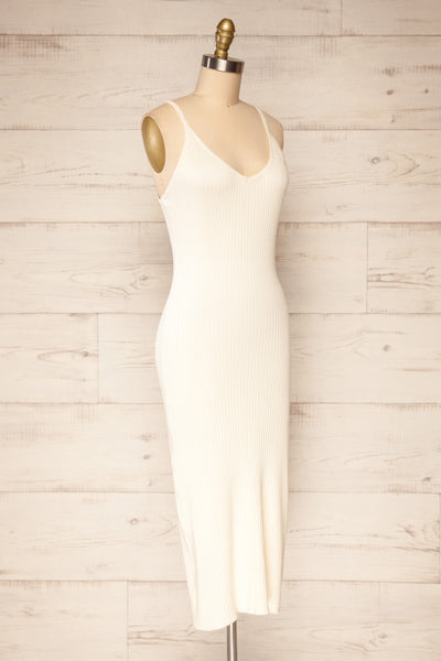 Hesses Ivory Ribbed Midi Dress | La petite garçonne side view