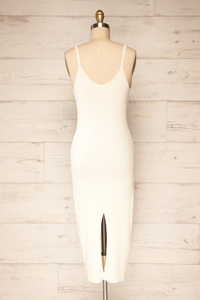 Hesses Ivory Ribbed Midi Dress | La petite garçonne back view