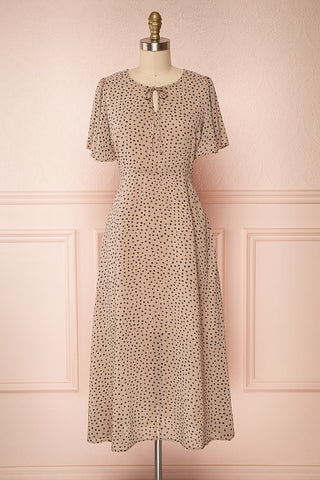Hildur Beige & Black Polkadot Midi A-Line Dress | Boutique 1861 front view