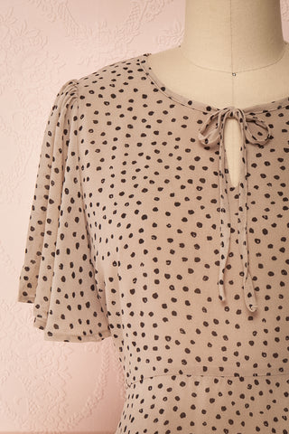 Hildur Beige & Black Polkadot Midi A-Line Dress | Boutique 1861 front close-up