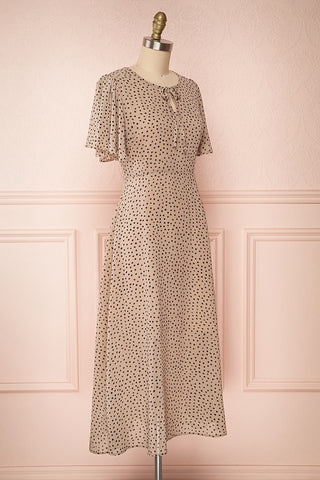Hildur Beige & Black Polkadot Midi A-Line Dress | Boutique 1861 side view