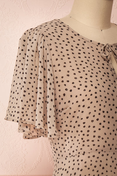 Hildur Beige & Black Polkadot Midi A-Line Dress | Boutique 1861 side close-up