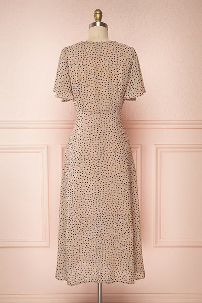 Hildur Beige & Black Polkadot Midi A-Line Dress | Boutique 1861 back view