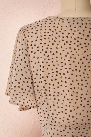 Hildur Beige & Black Polkadot Midi A-Line Dress | Boutique 1861 back close-up