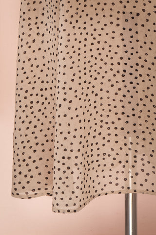 Hildur Beige & Black Polkadot Midi A-Line Dress | Boutique 1861 bottom close-up