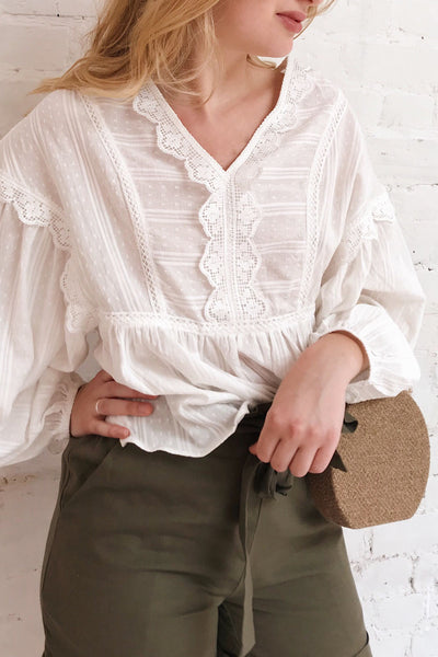 Hillerod White Blouse with Lace Details | La petite garçonne on model