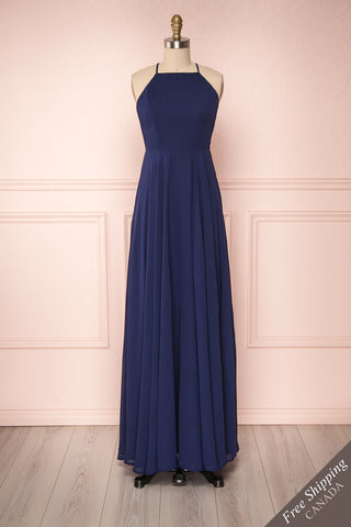 Hirni Navy Blue Chiffon Open Back A-Line Gown | Boutique 1861