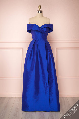 Hirosaki Lapis Blue Satin Off-Shoulder A-Line Gown | Boutique 1861