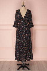 Hitimai Navy Blue Floral Wrap Neckline Maxi Dress | Boutique 1861