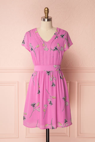 Hoani Fuschia Floral Pattern A-Line Summer Dress | Boutique 1861