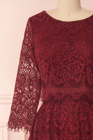 Holger Burgundy Lace A-Line Cocktail Dress | Boutique 1861 2