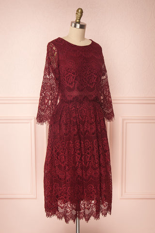Holger Burgundy Lace A-Line Cocktail Dress | Boutique 1861 3