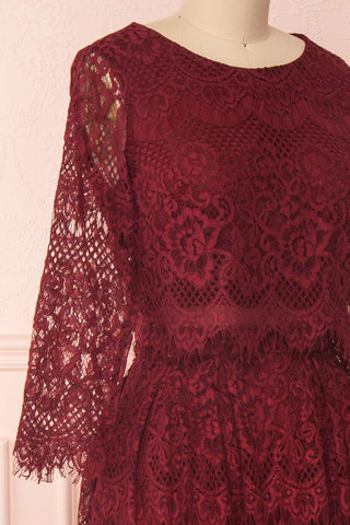 Holger Burgundy Lace A-Line Cocktail Dress | Boutique 1861 4