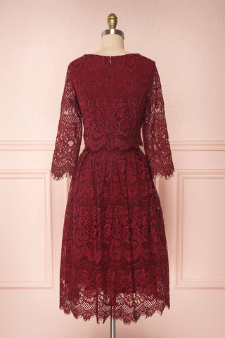 Holger Burgundy Lace A-Line Cocktail Dress | Boutique 1861 5