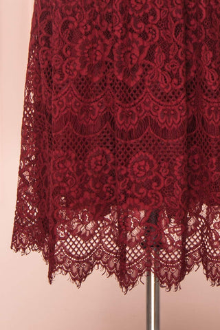 Holger Burgundy Lace A-Line Cocktail Dress | Boutique 1861 7