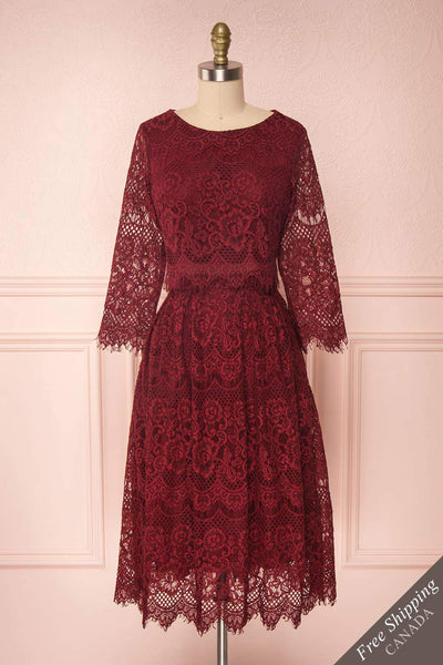 Holger Burgundy Lace A-Line Cocktail Dress | Boutique 1861 1