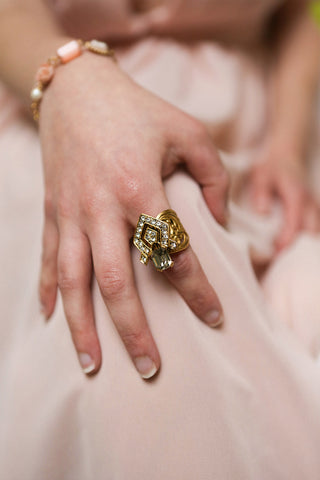Honestus Antique Gold Ring with Crystals | Boudoir 1861 2