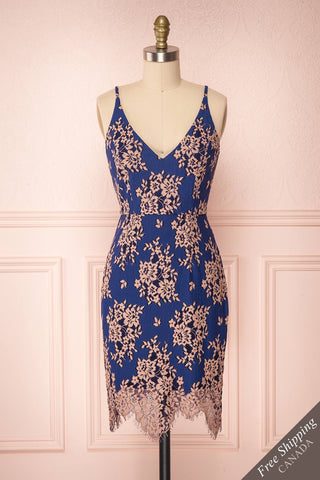 Honeylie Blue & Pink Lace Fitted Cocktail Dress | Boutique 1861